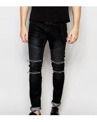 Liquor N Poker - Skinny Zip Biker Jeans In Black - Lyst