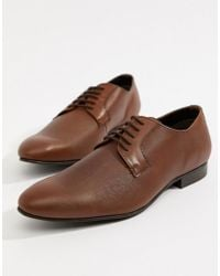 Dune - Saffiano Shoes In Tan Leather - Lyst