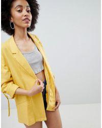 Bershka - Linen Blazer In Yellow - Lyst