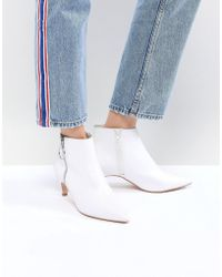 Faith - White Zip Detail Peg Heeled Ankle Boots - Lyst