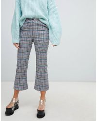 Lazy Oaf - Check Kick Flare Trousers With Bow Pocket Detail - Lyst