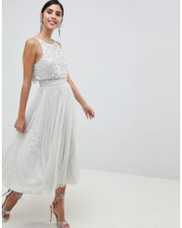 34f108d0334 ASOS - Tulle Prom Midi Dress With Delicate Embellished Droplets - Lyst