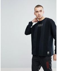 PUMA - Heritage Crew Neck Sweatshirt In Black 57500001 - Lyst