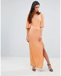 First & I - Flutter Sleeve Maxi Dress - Lyst