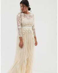 Amelia Rose - Vintage Ruffle Maxi Dress With Soft Baroque Embellishment In Cream - Lyst