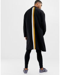 ASOS - Extreme Oversized Duster Jacket In Black With Back Stripes - Lyst
