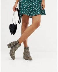 Oasis - Heeled Boots In Gold Glitter - Lyst