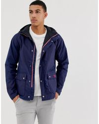 Barbour - Pass Wax Jacket With Hood In Navy - Lyst