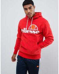 Ellesse - Hoodie With Large Logo In Red - Lyst