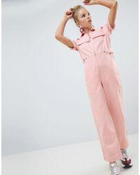 ASOS - Denim Boilersuit In Pale Pink - Lyst