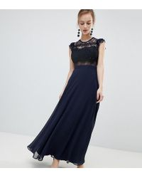 0a97aa75ad Lyst - ASOS Tall Wedding Plunge Wrap Maxi Dress With Tie Waist in Blue