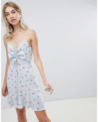 Warehouse - Ditsy Print Ruched Dress In Pale Blue - Lyst
