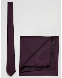 ASOS - Design Burgundy Tie And Pocket Square Pack - Lyst