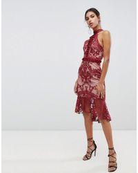 True Decadence - High Neck Peplum Hem Lace Pencil Dress In Berry - Lyst