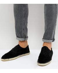 Frank Wright - Wide Fit Lace Up Espadrilles In Black Suede - Lyst