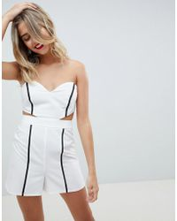 ASOS - Design Playsuit With Cut Out Detail And Tipping - Lyst