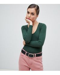 Monki - Ribbed V-neck Long Sleeve Body In Dark Green - Lyst