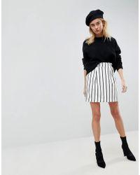 ASOS - Asos Tailored Ruffle Paperbag Waist A-line Mini Skirt In Stripe - Lyst