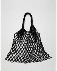 Monki - Crochet Net Shopper In Black - Lyst