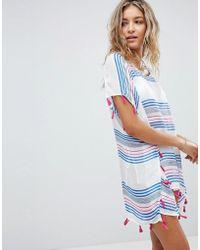 Surf Gypsy - Beach Striped Printed Tassel Cover-up - Lyst