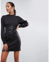 ASOS - Mini Column Dress With Balloon Sleeves And Buckle Details - Lyst