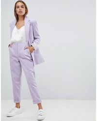 ASOS - Turn Up Tapered Cord Pants - Lyst