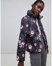 Pieces - Flower Print Padded Coat - Lyst