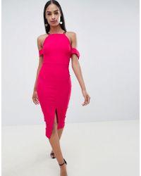 Vesper - Cold Shoulder Dress With Front Split - Lyst