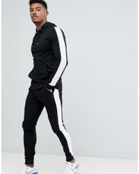 ASOS - Tracksuit Muscle Hoodie/ Extreme Super Skinny Sweatpants With White Side Stripe In Black - Lyst