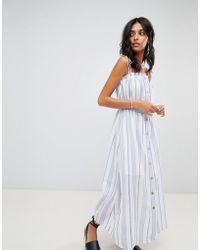 Moon River - Button Front Stripe Midaxi Dress - Lyst
