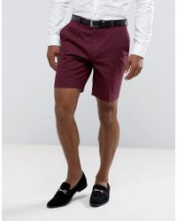 ASOS - Asos Slim Mid Length Smart Short In Purple - Lyst