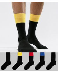 ASOS - Design Socks In Black With Contrast Welts 5 Pack - Lyst