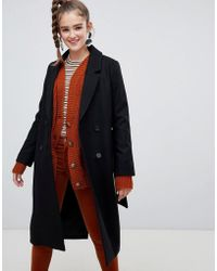 Monki - Tailored Belted Coat In Black - Lyst