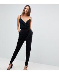ASOS - Asos Design Tall Cami Wrap Jumpsuit With Peg Leg - Lyst