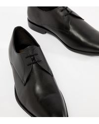 Frank Wright - Wide Fit Derby Shoes In Black Leather - Lyst