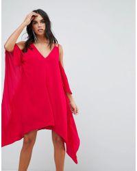 Adelyn Rae - Fiona Cold Shoulder Asymmetric Shift Dress - Lyst