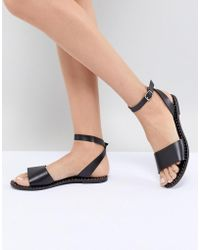 8a813453f60b35 Steve Madden - Danny Black Leather Flat Sandals - Lyst