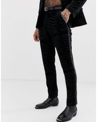 ASOS - Skinny Tuxedo Suit Pants In Black Tiger Glitter Velvet - Lyst