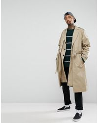 ASOS - Oversized Trench Coat In Stone - Lyst