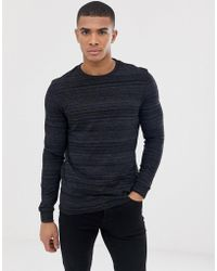 ASOS - Long Sleeve T-shirt In Black Inject Fabric - Lyst