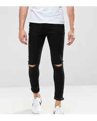 ASOS - Tall Super Skinny Jeans With Knee Rips - Lyst