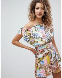 ASOS - Drape Shoulder Playsuit In Baroque Print - Lyst