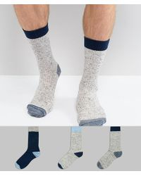 ASOS - Socks In Gift Box In Navy And Grey Fleck 3 Pack - Lyst
