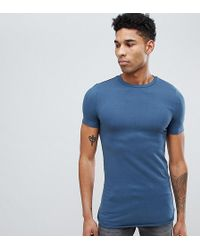 a2f44ed3a7b2 ASOS - Tall Longline Muscle Fit T-shirt With Bound Curved Hem In Blue -