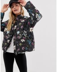 ONLY - Aya Floral Padded Jacket With Hood - Lyst