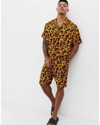 ASOS - Woven Short Pyjama Set In Leopard Print - Lyst