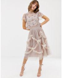 Needle & Thread - Falda midi de tul en rosado con detalle fruncido - Lyst