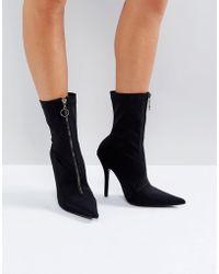 Public Desire - Andorra Zip Front Sock Boots - Lyst