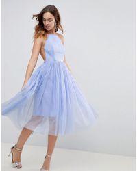 ASOS - Premium Scuba Pinny Midi Tulle Dress - Lyst