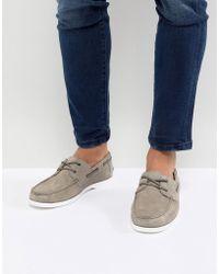 ASOS - Design Boat Shoes In Grey Suede - Lyst